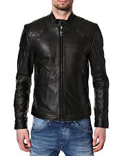 DIESEL LALETA BLACK LEATHER JACKET SIZE L 100% AUTHENTIC