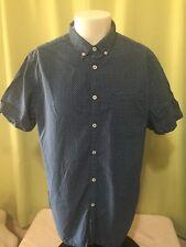 Denim & Flower Ricky Singh Men's Blue SS Button Front Shirt Size XL