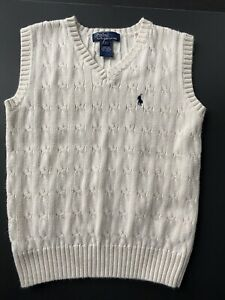 POLO Ralph Lauren Boy's IVORY Cable Knit V Neck Sweater Vest Size 7. NWOT.
