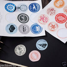 108: quality Vintage Round Stickers water resistant labels seals craft rose 4 cm