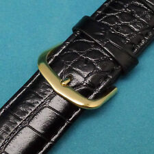 20mm Quality Calfskin Black Croco Men's Watch Band with Gold Tone Buckle