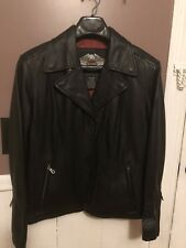 HARLEY DAVIDSON Womens Black Leather Jacket Size Small