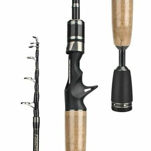 Fishing Rod Carbon Telescopic Portable Solid Travel Casting Spinning Carp Wobble