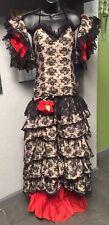Vintage 60/70s Flamenco Spanish Dress Stage Dance Costume Black Lace Arm Cuffs
