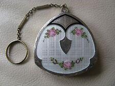 Antique Art Deco Silver T White Guilloche Black Enamel Pink Floral Dance Compact