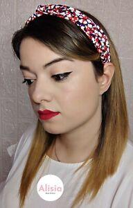 Cerchietto capelli stoffa fantasia fiori rossi fermaglio fascia nodo donna
