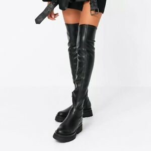 Womens Punk Platform Heels Stretch Over The Knee Thigh High Boots Knight Shoes