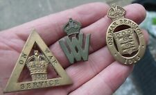 More details for three ww1 home front on war service war worker factory badges, 1 womens.