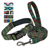 Printed Personalised Neoprene Padded Dog Collar and Leads Engraved Metal Buckle
