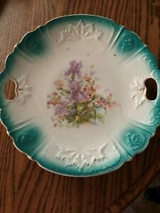 Vintage  plate with handles and iris flowers
