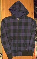 Social Collision  Hot Topic Plaid Hoodie Men's Zip-up Purple Teal Medium
