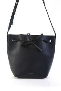 Mansur Gavriel Womens Leather Bucket Shoulder Bag Silver Hardware Blue Medium