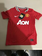 Nike Red Manchester United AON  Youth Boys Jersey Small NWT