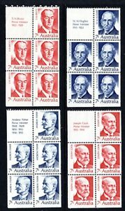 1972 Australia - Prime Ministers - Complete Set of 4 Panes with tabs MNH