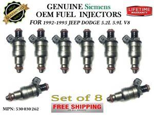 8x Fuel Injectors OEM SIEMENS for 1992-1995 JEEP DODGE 5.2L 5.9L V8