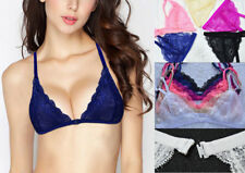 Womens Front Close Lace Perspective Unpadded Plunge Bra Bralette Mesh Lined Bras