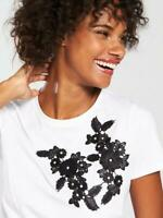 V by Very Flower Embroidered T-Shirt - White