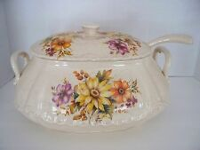 VTG Daisy Floral Pattern Soup Tureen & Ladle Gravy Bowl Boat LARGER Tureen