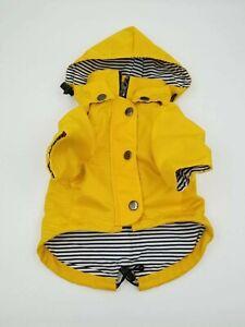 One Ellie Dog Wear Premium Raincoats - Yellow Zip Up Raincoat Hooded Size S