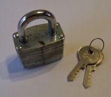Vintage REX 40mm Padlock + 2 keys Hong Kong hardened steel brass cylinder retro