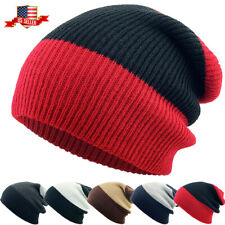 Slouch Beanie Winter Skull Cap Striped Ribbed Baggy Fit Ski Hat
