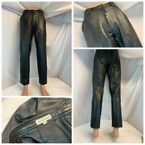"Ann Taylor Leather Pants Sz 10 Black Full Leather 31"" Inseam Made USA YGI C1-118"