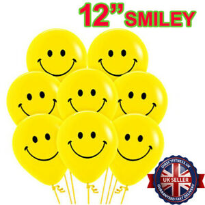 "100 x SMILEY YELLOW 12"" LARGE FACE BALLOON LATEX RUBBER HELIUM/AIR PARTY BALLOON"