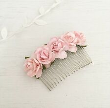 Pastel Pink Paper Rose Vintage Hair Comb - Flower Girl - Bride - Bridesmaid
