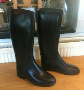 CADETT Black Rubber LONG RIDING BOOTS Black UK 2 / EU 34