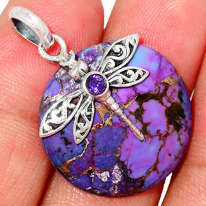 Dragonfly - Copper Purple Turquoise & Amethyst 925 Silver Pendant BP68657
