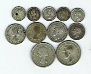 11 different .500 silver coins from Australia : 49.2g : 1947 - 1961
