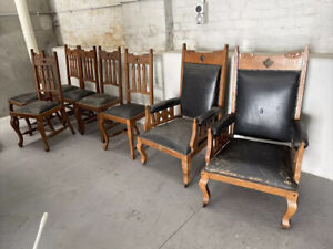 8 Antique Dining Chairs Including 2 Carver Chairs