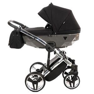 Premium Junama Diamond S Black + Grey + Silver Baby Pram Stroller Pushchair