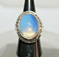 1.20cts ROSE CUT DIAMOND MOONSTONE ANTIQUE VICTORIAN 925 SILVER COCKTAIL RING