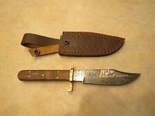 Large Damascus Bowie knife w brown Walnut colored wood handles & leather sheath
