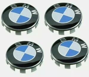 4 COPRIMOZZO BMW LOGO BLU TAPPI CERCHI IN LEGA Serie 1 2 3 4 5 6 7 M Z X 68mm