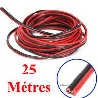 Câble Haut Parleur MEPLAT sous Gaine Noire Rouge 2 x 0.5 mm² Long 25 Métres