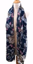 Womens Floral Design Scarf Pashmina Wrap Dark French Blue Taupe  Xmas Gift
