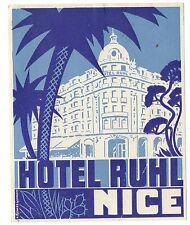 Hotel Luggage Label/Decal For The Ruhl, Nice