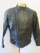 "Vintage 80's Belstaff Leather Twin Track Motorcycle Jacket XL 46"" Euro 56 Black"
