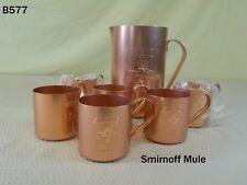 Vintage Smirnoff Vodka Ginger Beer Copper Mule Mug Cup Set Pitcher Barware Rare