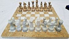 "Chess Set Onyx/Marble 12"" Cinder White & Coral Fossil Cream *REDUCED TO £39.95*"