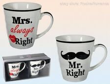 Mr Right Mrs Always Right White Mug Cup Gift Boxed Husband Wife Wedding Married