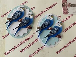 2 x Decoupage Pictures of Budgie Bird Theme Toppers