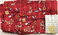 Lularoe Bright Red And Coral Leggings With Birds And Flowers Fall ColorPrint OS