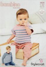 Stylecraft 9608 Knitting Pattern- Crochet Striped Top And Sweater In Bambino DK