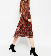 Branded Midi Dress In Folk Print With Embellishment UK 16/EU 44/US 12