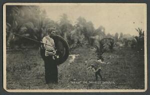 Philippines: 1920s RPPC Photo Postcard DIKI DIKI THE SMALLEST WARRIOR Moro Datu