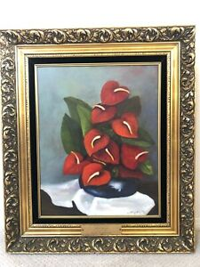 👀 Wonderful Impressionist Still Life Oil Painting of Flowers - Signed on Plaque