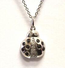 "925 Sterling Silver .50ct I1 H diamond lady bug pendant necklace 3g 18"""